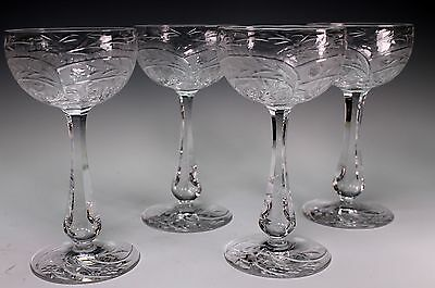 4 Pretty Gray Cut Engraved Crystal Floral ABP Wine Stems Glass Glasses