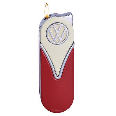 Official VW Camper Van Metal Slimline Gas Lighter in gift box - White + Red
