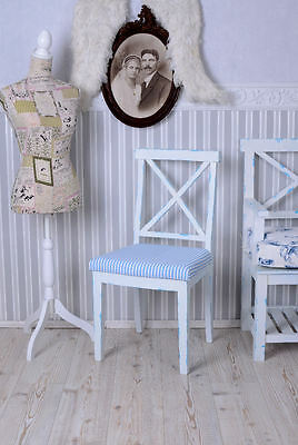 Chair Shabby Chic Dining room chair navy Wooden chair Country house style