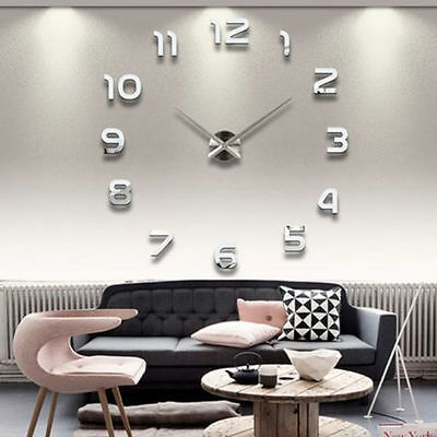 DIY 3D Mirror Large Number Wall Clock Wall Decals Office Room Home Decor US