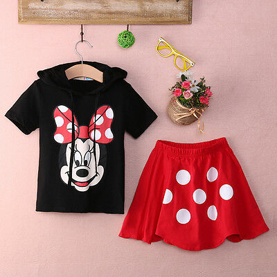 Baby Girls Kids Minnie Mouse Clothes Top+Polka Dot Dress 2Pcs Outfit Set Custume