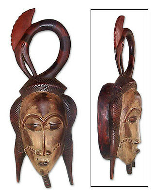 African Tribal Mask Hand Carved Wood Wall Decor Blessing
