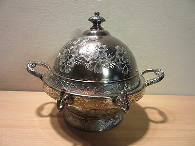 Antique Victorian Quadruple Silverplate Butter Dish