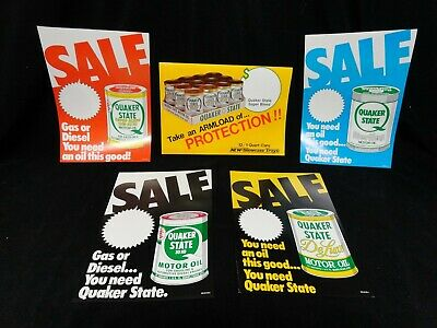(5pcs) QUAKER STATE * Point of Sale * POSTER PACK * SIGNS * (1983) * (NOS)