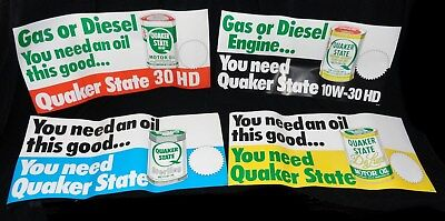 "(4pcs) 4 Different LG QUAKER STATE * STORE Display SIGNS *  (1983)  NOS  36""x16"""