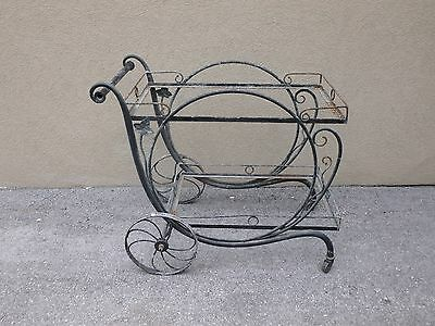 Large Vintage Salterini  Tea Cart Sold Without Glass As Is In Need Of A Repaint