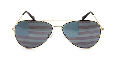 49e102f99967 USA Aviator Sunglasses Patriotic Proud American Flag Classic Style Gold  Military