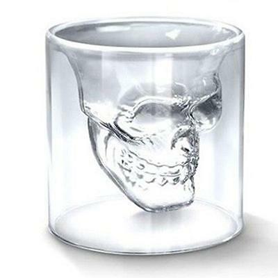 Hot Funny Double Layer Clear Glass Skull Cup Crystal Drinking Bar Shot Glasses Z