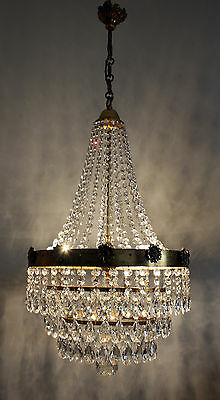 Unique Vintage Antique French Basket Style Brass &  Crystals  Chandelier