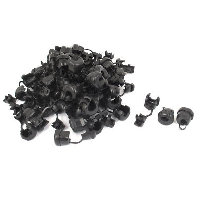 60pcs 6N-4 Black Nylon Strain Relief Bushing Electric Wire Clip for 7.6mm Cable