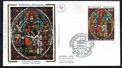 FRANCE FDC - 2363 1 VITRAIL CATHEDRALE STRASBOURG - 23 Avril 1985 -LUXE sur soie