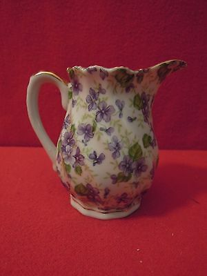 Lefton China 3 1/2 Inch Hand Painted Cream Pitcher With Purple Flower Pattern