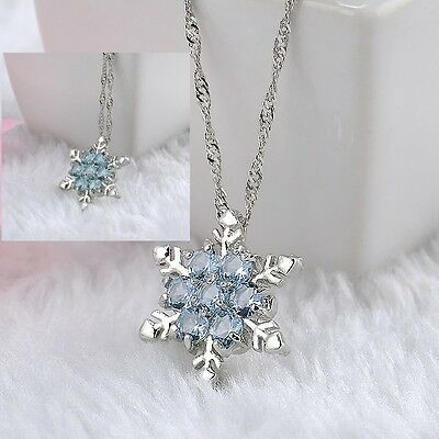 Women Silver Chain Crystal Snowflake Charm Pendant Necklace Jewelry Gift
