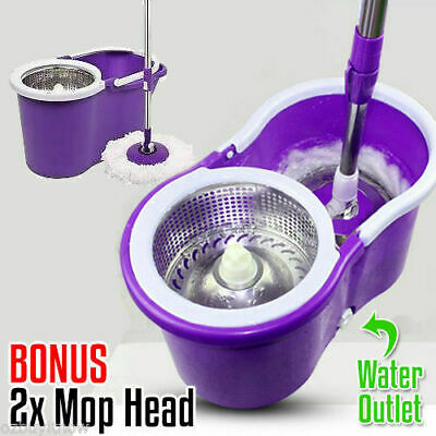 360° Spin Mop Bucket Stainless Steel Free 2 Mop Head Microfibre