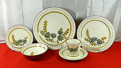 """83-Pcs (Or Less) Of Stangl Hand Painted """"golden Blossom-Brown Trim"""" Dinnerware"""