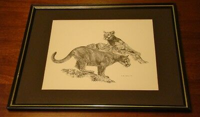 """Vintage Mother Cougar & Daughter Print by Jan Jellins 1978 8.5""""x11"""" inch"""