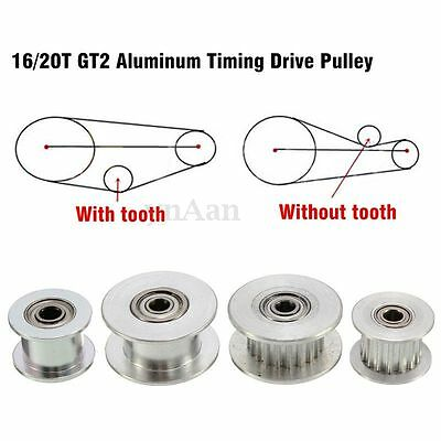 16/20T GT2 Aluminum Timing Drive Pulley For DIY 3D Printer With/Without Tooth HK