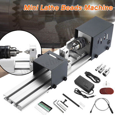80W DIY Lathe Beads Machine Mini Woodworking Cutting Polishing Sanding Table Saw