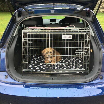 Audi A1 CAR BOOT DOG CAGE PUPPY TRAVEL SLOPING CRATE PET SAFETY CAGES