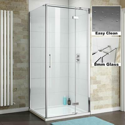 Luxury 8mm Hinged Glass Shower Enclosure Screen Side Panel + Tray *Free Waste*