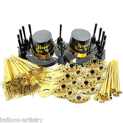 87 Piece Deluxe Black Gold Ultimate New Year's Party Supplies Kit 25 Guests