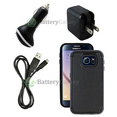 Micro Battery Wall 1.5A+Car Charger+USB Cable+Black Case for Samsung Galaxy S6