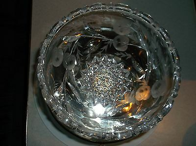 Signed Hawkes cut glass bowl with fruit motif ABP
