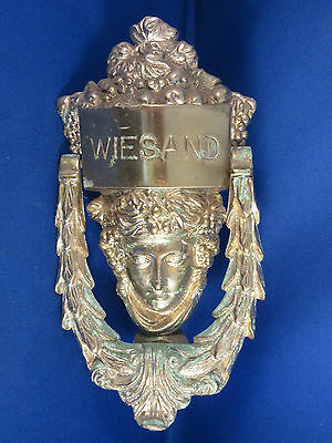 Large Vintage Brass Door Knocker Woman's Face 8.5""