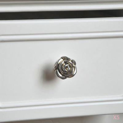 5xAntique Rose Drawer Knob Kitchen Cabinet Wardrobe Locker Door Pull Handle 33mm
