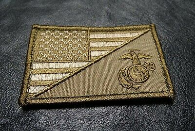 Marine Usa Flag Tactical Combat Military  Morale Hook Patch By Miltacusa