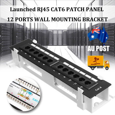 AU RJ45 CAT6 Patch Panel 12 Way Ports Wall Mount Both Surface Mounting Bracket