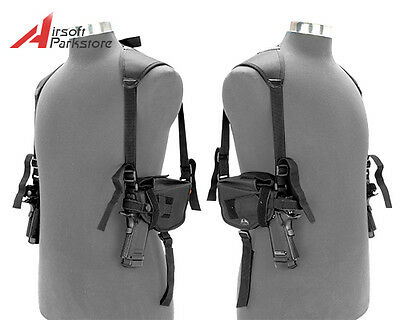 Tactical Military Left & Right Pistol Hand Gun DOUBLE Shoulder Holster Bag Black