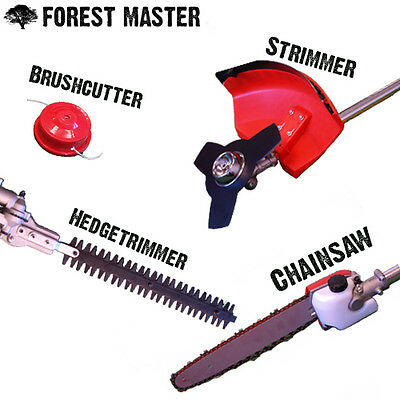 Garden Multi Tool 5 in1 Hedge Trimmer Patio Brushcutter Lawn Strimmer & Chainsaw
