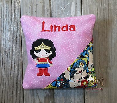 Girl's Personalized Embroidered Girl Superhero Wonder Woman Tooth Fairy Pillow