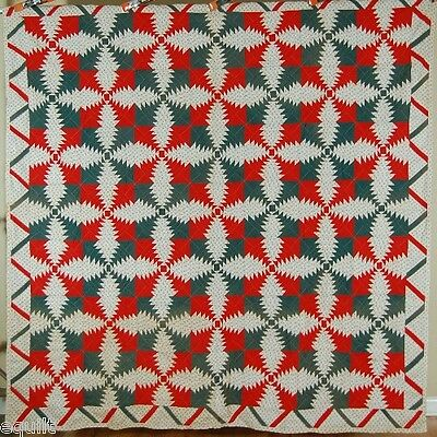 1880's Red & Green Pineapple Windmill Blades Log Cabin Antique Quilt ~ZIGZAG BDR