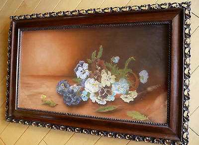Rare 19th CENTURY PASTEL Signed AGNES 1897 Old Antique Frame FLOWERS STILL LIFE