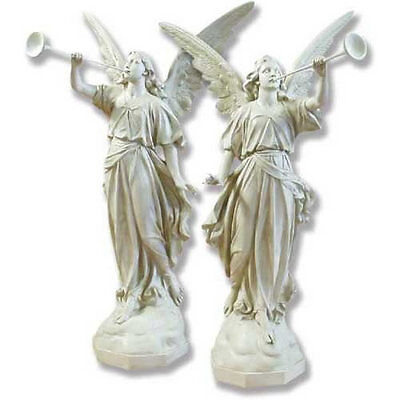 """Angels with Trumpets Garden Set  Sculpture Statue by Orlandi Statuary-64"""" High"""