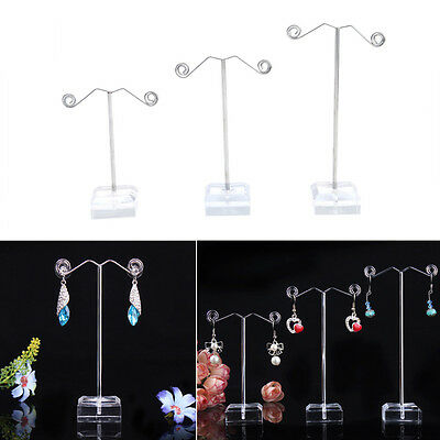 3pcs Clear Acrylic Metal Tree Earring Necklace Jewelry Display Stand Holder Rack