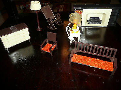 Vintage 7 Piece Set Various Minature Doll House Furniture Htf Rare Hong Kong