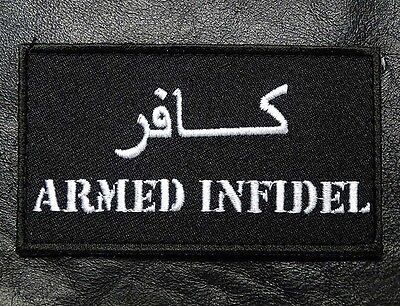 Armed Infidel Arabic Tactical Army Morale Crusader Hook Loop Patch