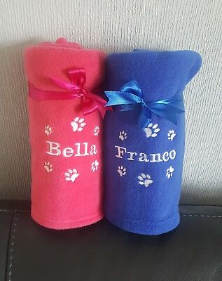 Personalised Paw Print Dog / Cat Pet Fleece Blanket Gift Many Colours