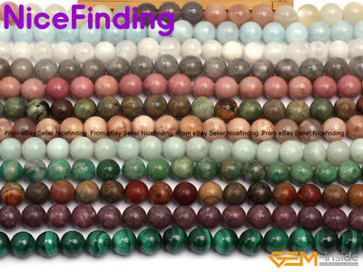 "10mm Natural Round Gemstone Beads For Jewelry Making Loose Beads 15"" Stone Pick"