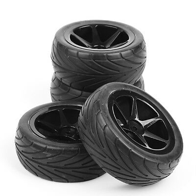 4Pcs Ruber Front&Rear Tyre Tires Wheel Rim For RC 1:10 On-Road Racing Buggy Car