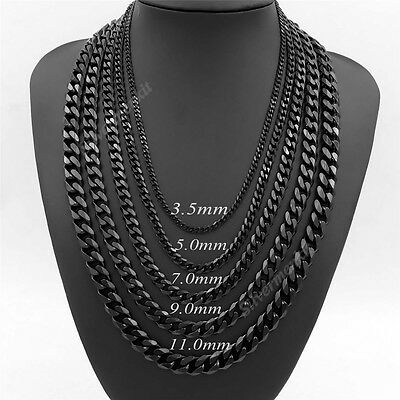 Mens Boys 3.5/5/7/9/11mm Black Stainless Steel Curb Link Chain Necklace 18-38""