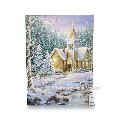 Winter Lane Fiber-Optic Lighted Christmas Canvas with Remote - Winter Chapel