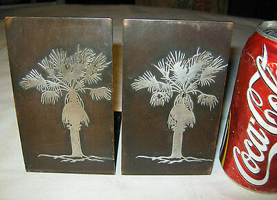 Antique Heintz Mission Arts & Crafts Sterling Silver Bronze Palm Tree Bookends