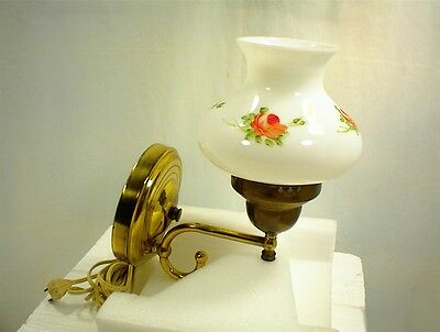 Vintage Wall Lamp White Glass Globe Hand Painted Red Roses Brass Bedroom Home