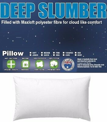 Soft Medium Or Firm Bed Pillow Cotton Case Deep Sleep Pillow Australian Made