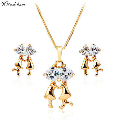 """18K Gold Filled Kiss Lover Heart CZ Earrings Pendant 18"""" Necklace Jewelry Sets"""