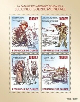Guinea - 2015 WWII Battle of the Bulge - 4 Stamp Sheet - 7B-2539